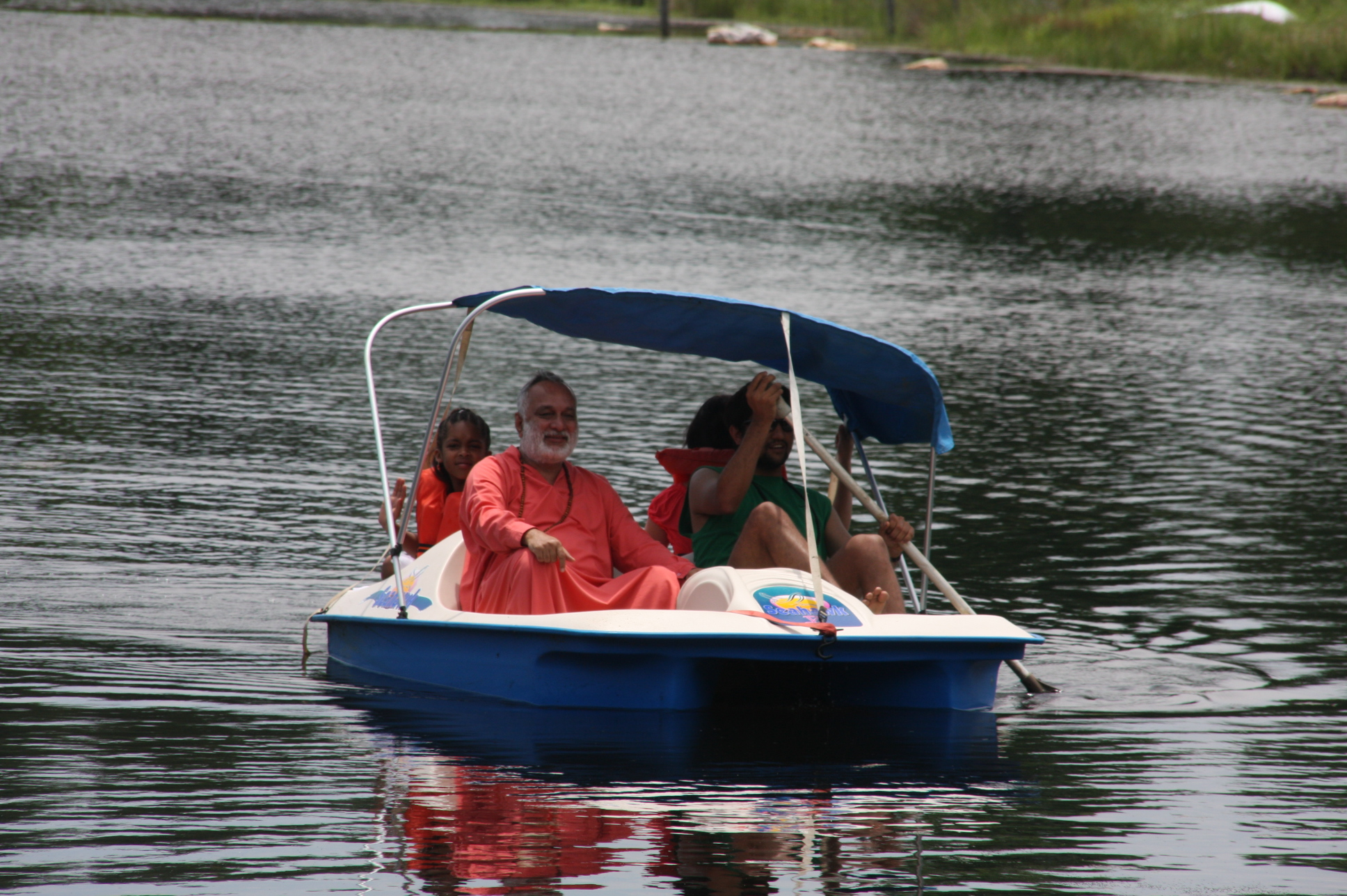 Family on a lake boat